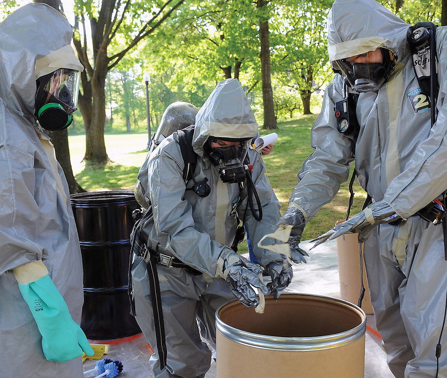 Public health students participate in a disaster prepardness excercise on campus as part of their training.