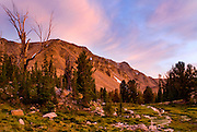 Sunset in Idaho's White Cloud Mountains near the headwaters of Warm Springs Creek.
