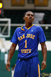 Nov 16, 2011; San Francisco CA, USA;  San Jose State Spartans guard Keith Shamburger (1) before a free throw against the San Francisco Dons during the first half at War Memorial Gym.  San Francisco defeated San Jose State 83-81 in overtime. Mandatory Credit: Jason O. Watson-US PRESSWIRE