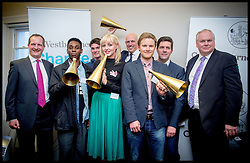 James Bethell (left)Director of Westbourne and Adam Bolton (right)with winners of the Westbourne Change Opinion Awards, London, United Kingdom. Thursday, 15th May 2014. Picture by Andrew Parsons / i-Images