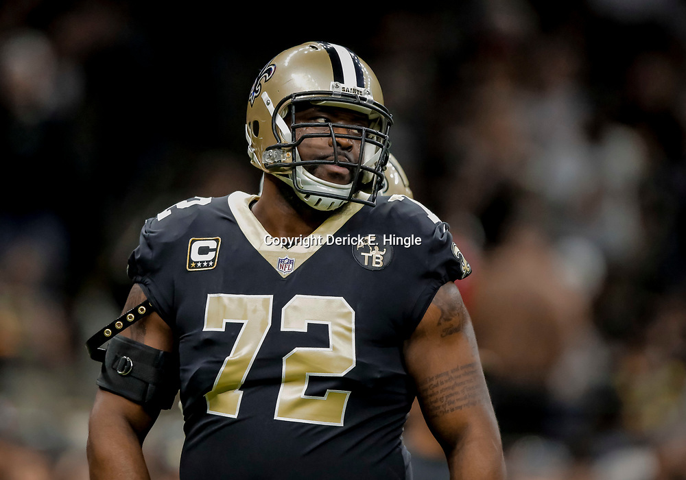 Dec 23, 2018; New Orleans, LA, USA; New Orleans Saints offensive tackle Terron Armstead (72) prior to kickoff against the Pittsburgh Steelers at the Mercedes-Benz Superdome. Mandatory Credit: Derick E. Hingle-USA TODAY Sports