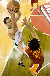 Dusan Djordjevic (10) of Olimpija vs Luca Vitali  of Lottomatica at Euroleague basketball match in 5th Round of Group C between KK Union Olimpija and Virtus Lottomatica Roma, on November 25, 2009, in Arena Tivoli, Ljubljana, Slovenia. Union Olimpija defeated Lottomatica 87-70. (Photo by Vid Ponikvar / Sportida)