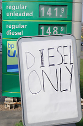 © Licensed to London News Pictures. 30/03/2012. A 'Deisel Only' sign at a BP petrol station which has run out of petrol in Sidcup, South East London on March 30, 2012 .Photo credit : Grant Falvey/LNP