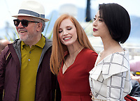 Director and President of the Jury Pedro Almodóvar, actress Jessica Chastain and Fan Bingbing at the Members of the Jury photocall at the 70th Cannes Film Festival Wednesday May 17th 2017, Cannes, France. Photo credit: Doreen Kennedy