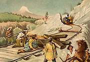 Bandits ambushing a train in the New Hampshire-Maine area of the United States.  Chromolithograph from 'Young England' (London, 1888).