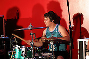 Derek Johnson, drummer for Take Cover, performs at Fiesta in Tinley Park, Illinois.