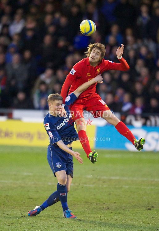 OLDHAM, ENGLAND - Sunday, January 27, 2013: Liverpool's Sebastian Coates in action against Oldham Athletic during the FA Cup 4th Round match at Boundary Park. (Pic by David Rawcliffe/Propaganda)