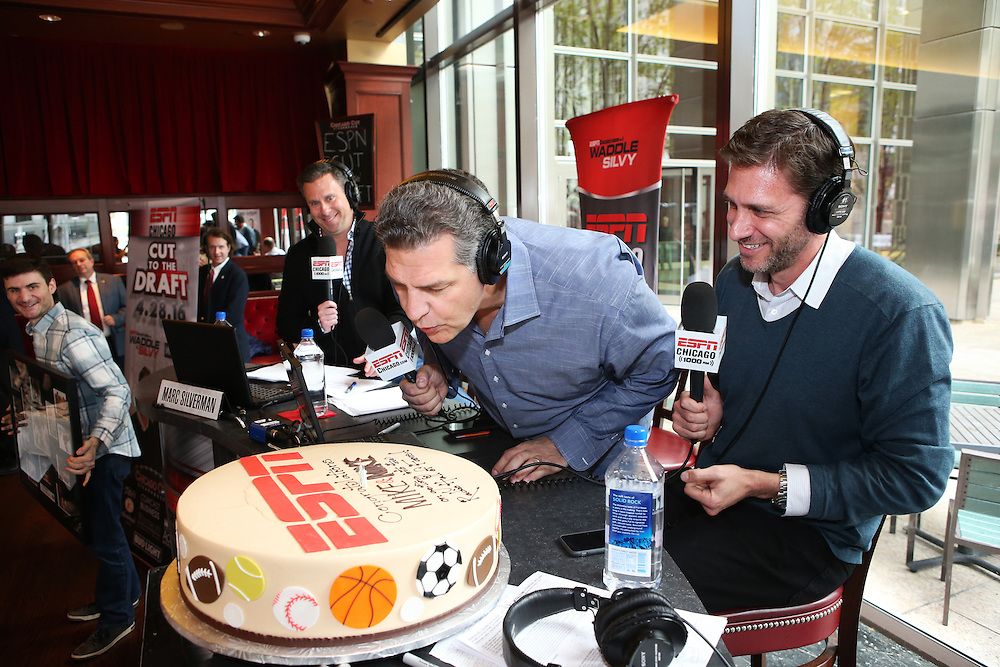Chicago, IL - {April} {28}, {2016} - Chicago Cut Steakhouse: XXXXX with Tom Waddle and Marc Silverman on a remote onsite set of the Waddle &amp; Silvy Show during NFL Draft week.<br /> (Photo by George Burns / ESPN Images)