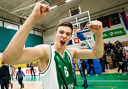 Miha Skedelj of Krka celebrates after winning during basketball match between KK Krka and KK Petrol Olimpija in 22nd Round of ABA League 2018/19, on March 17, 2019, in Arena Leon Stukelj, Novo mesto, Slovenia. Photo by Vid Ponikvar / Sportida