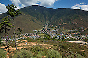 BU00014-00...BHUTAN - View of the southern end of the capital city of Thimphu from the site of the Buddha Dordenma.