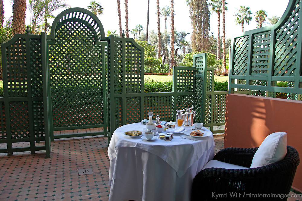 Africa, Morocco, Marrakech.  La Mamounia Hotel, the legendary 5-star palace of Marrakech.