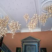 NLD/Den Haag/20190703 - Bezichtiging kamers paleis Huis ten Bosch, vestibule, lamp met lichtj als paardenbloemen