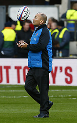 February 10, 2019 - London, England, United Kingdom - England's Coach Eddie Jones during warm up.during the Guiness 6 Nations Rugby match between England and France at Twickenham  Stadium on February 10th, 2019 in Twickenham, London,  England. (Credit Image: © Action Foto Sport/NurPhoto via ZUMA Press)