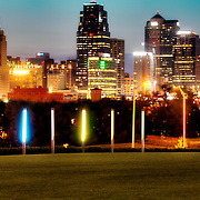 View of Kansas City Missouri downtown skyline at dusk from Hospital Hill Park