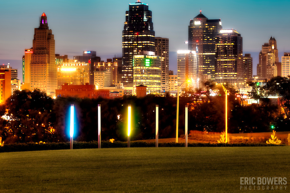 View of Kansas City Missouri downtown skyline at dusk from Hospital Hill Park