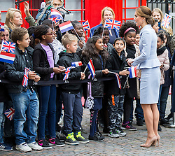THE HAGUE- NETHERLANDS- 11th Oct 2016: The Duchess of Cambridge undertakes her first official overseas solo engagements with a visit to Holland. After a call on HM King Willem at the Royal Palace Kate went to The Hague to visit the Maritshuis Art  Museum .<br /> Photograph by Ian Jones