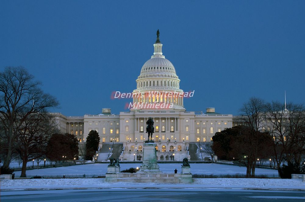 U.S. Capitol Building on a wintery night.