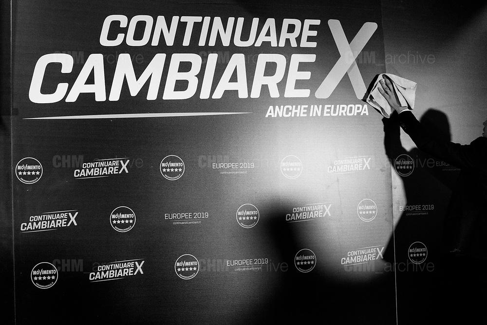 5 Star leader and Italian Deputy Prime Minister Luigi di Maio presents his EU election program in Rome, Italy, May 2, 2019. Christian Mantuano / OneShot