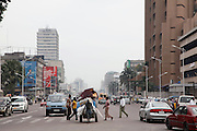 Looking down the busy Boulevard du 30 Juin from the Place De La Gare, the largest street in the city of Kinshasa...© Zute Lightfoot.www.lightfootphoto.com