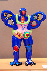 © licensed to London News Pictures. LONDON, UK  08/06/2011. Sculpture by Niki De Saint Phalle at the Olympia International Fine Art & Antiques Fair. All 30,000 items on sale from 150 dealers are vetted for authenticity by a panel of experts. The show opens in Olympia tomorrow (Thursday) and runs for 11 days. Please see special instructions for usage rates. Photo credit should read CLIFF HIDE/LNP