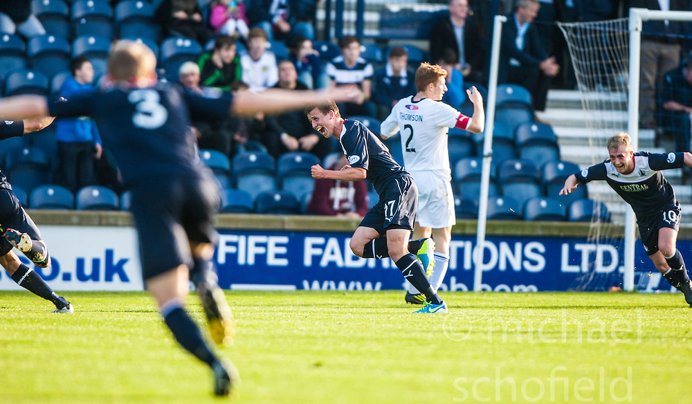 Falkirk's Kris Faulds celebrates after scoring their goal.<br /> Raith Rovers 1 v 1 Falkirk, Scottish Championship 28/9/2013.<br /> &copy;Michael Schofield.