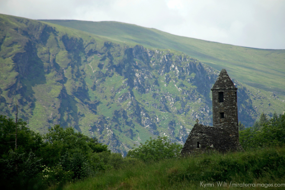 Europe, Ireland, Glendalough. St. Kevin's Church in the scenic Glendalough landscape.