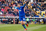 Wimbledon defender Steve Seddon (15), on loan from Birmingham City,  during the EFL Sky Bet League 1 match between Bradford City and AFC Wimbledon at the Northern Commercials Stadium, Bradford, England on 4 May 2019.