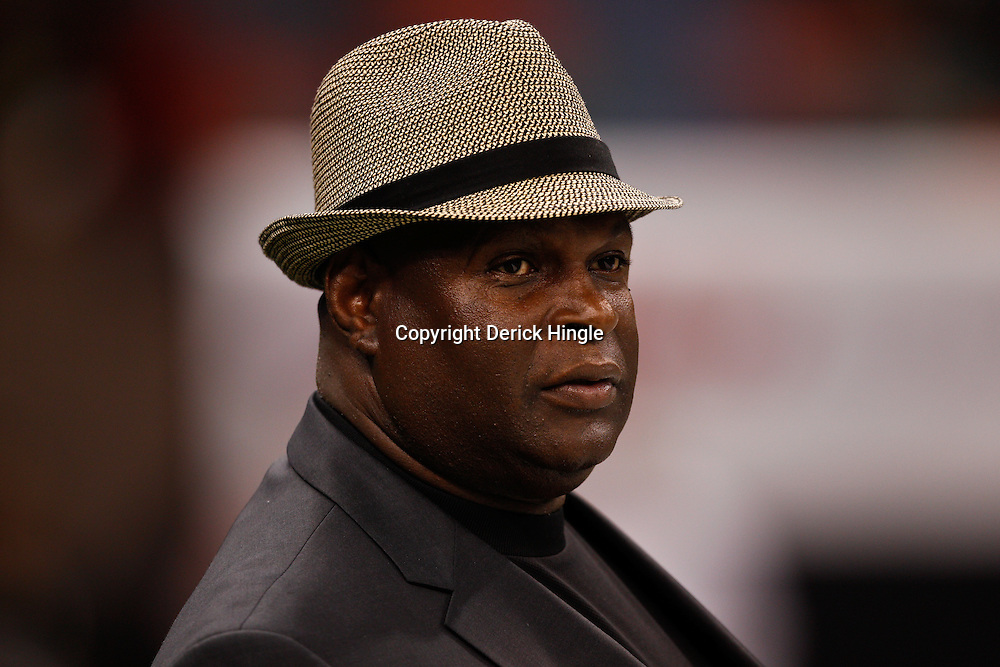 August 27, 2010; New Orleans, LA, USA; New Orleans Saints hall of fame linebacker Rickey Jackson watches from the field prior to the start of a preseason game at the Louisiana Superdome. The New Orleans Saints defeated the San Diego Chargers 36-21. Mandatory Credit: Derick E. Hingle