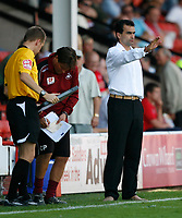 Photo: Steve Bond.<br />Walsall v Swansea City. Coca Cola League 1. 25/08/2007. Roberto Martinez relaxes as Swansea are in charge
