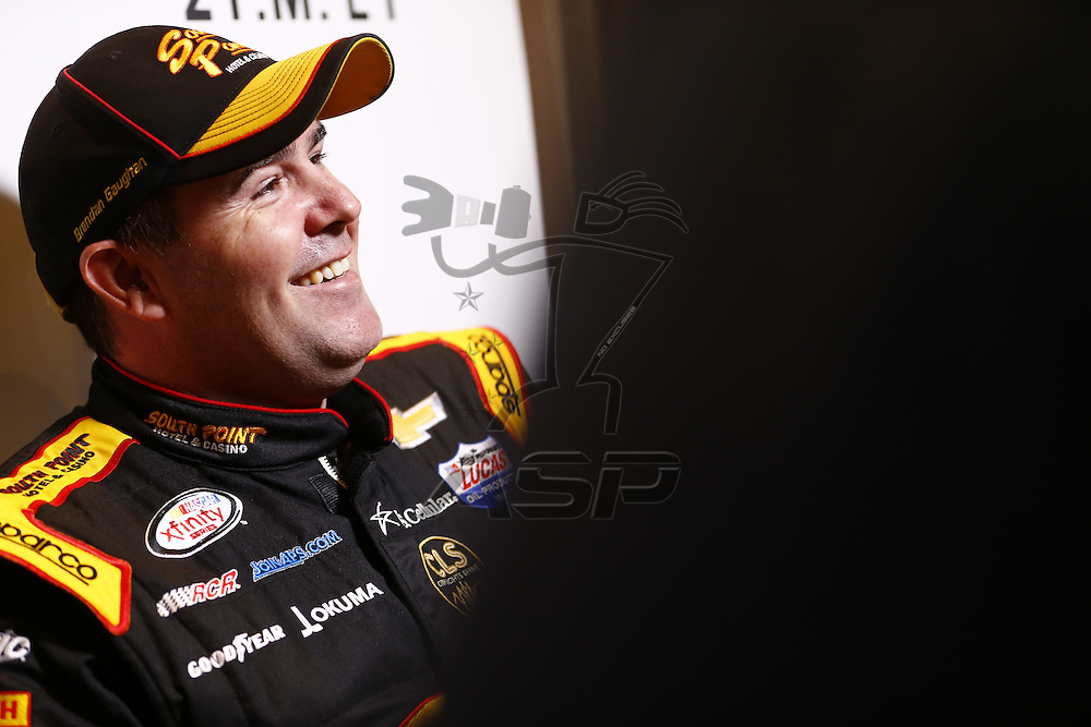 Daytona Beach, FL - Feb 22, 2017: Brendan Gaughan (62) meet with the media during the annual Daytona 500 Media Day at the Daytona International Speedway in Daytona Beach, FL.