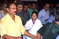 September 6, 2017 - Kolkata, West Bengal, India - Chief Minister Mamata Banerjee (in middle) marched with the journalist to protest the killing of journalist Gouri Lankesh in Kolkata. West Bengal Chief Minister Mamata Banerjee participates with journalist in a rally to protest the killing of journalist Gouri Lankesh on September 6, 2017 in Kolkata. (Credit Image: © Saikat Paul/Pacific Press via ZUMA Wire)