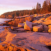 Sunrise on the rugged coastline along Ocean Drive. Acadia National Park
