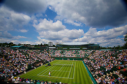 LONDON, ENGLAND - Tuesday, June 25, 2013: Heather Watson (GBR) takes on Madison Keys (USA) during the Ladies' Singles 1st Round match on day two of the Wimbledon Lawn Tennis Championships at the All England Lawn Tennis and Croquet Club. (Pic by David Rawcliffe/Propaganda)