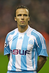 Liverpool, England - Wednesday, October 3, 2007: Olympique de Marseille's Boudewijn Zenden lines-up to face his former team Liverpool during the UEFA Champions League Group A match at Anfield. (Photo by David Rawcliffe/Propaganda)