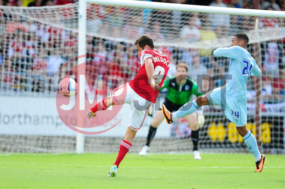 Bristol City's Sam Baldock volleys for the ball towards goal - Photo mandatory by-line: Dougie Allward/JMP - Tel: Mobile: 07966 386802 11/08/2013 - SPORT - FOOTBALL - Sixfields Stadium - Sixfields Stadium -  Coventry V Bristol City - Sky Bet League One