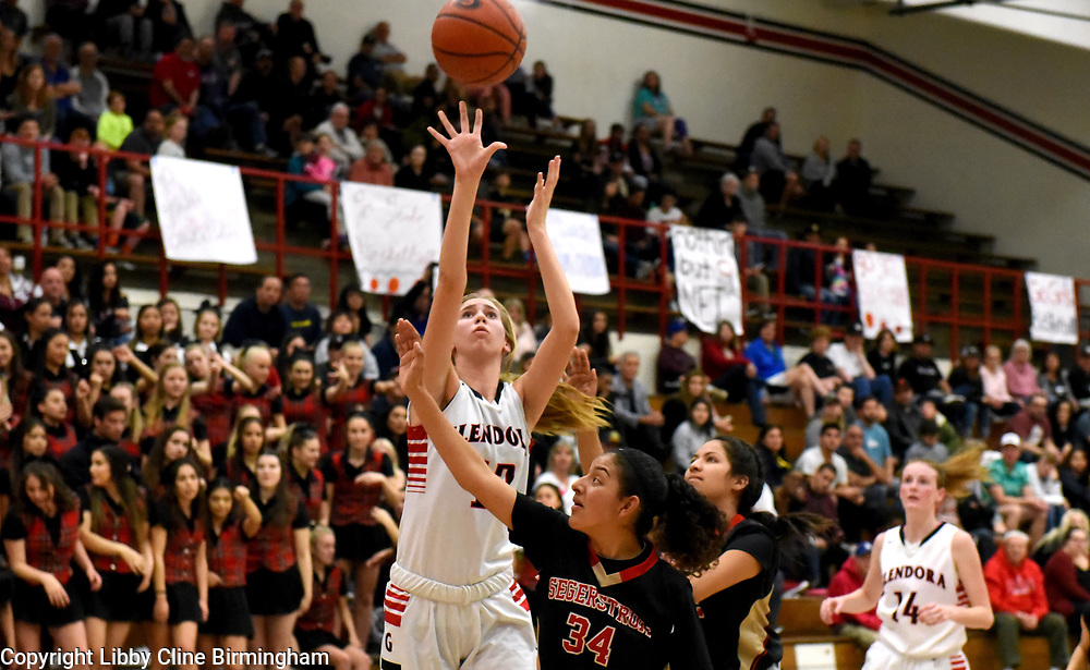 Glendora's Kyra Zovak (12) takes a shot in the first half of a second round CIF girls basketball game against Segerstrom  at Glendora High School in Glendora, Calif., on Saturday, Feb. 17, 2018. (Photo by Libby Cline Birmingham)