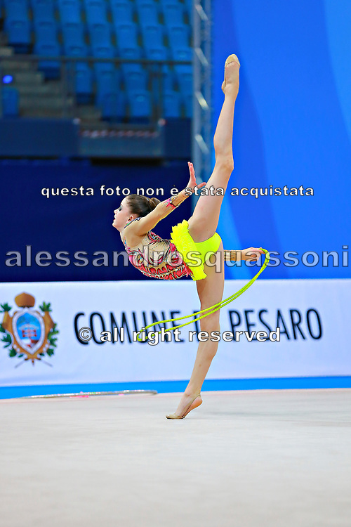 "Bevilacqua Sofia during rope routine at the International Tournament of rhythmic gymnastics ""Città di Pesaro"", 01 April, 2016. Sofia is an Italian individualistic gymnast, born on March 02, 2002 in Fano.<br />