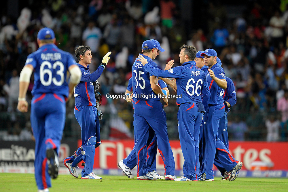 23.09.2012. Colombo, Sri Lanka. T20 World Cup England versus India held in Colombo Sri Lanka on the 23rd of September 2012 The English team celebrate after taking the wicket of Virat Kohil