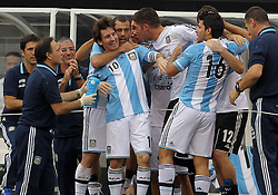 JUNE 09 2012:   Lionel Messi (10) of Argentina surrounded by teammates after scoring the winning goal, his third against Brazil during an international friendly match at Metlife Stadium in East Rutherford,New Jersey. Argentina won 4-3.