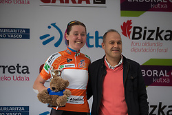 Katie Archibald (GBR) of Team WNT is awarded the points competition's orange jersey after Stage 3 of the Emakumeen Bira - a 77.6 km road race, starting and finishing in Antzuola on May 19, 2017, in Basque Country, Spain. (Photo by Balint Hamvas/Velofocus)