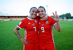 NEWPORT, WALES - Tuesday, June 12, 2018: Wales' goal-scorers Natasha Harding (left) and Kayleigh Green (right) celebrate at the final whistle after beating Russia 3-0 during the FIFA Women's World Cup 2019 Qualifying Round Group 1 match between Wales and Russia at Newport Stadium. (Pic by David Rawcliffe/Propaganda)