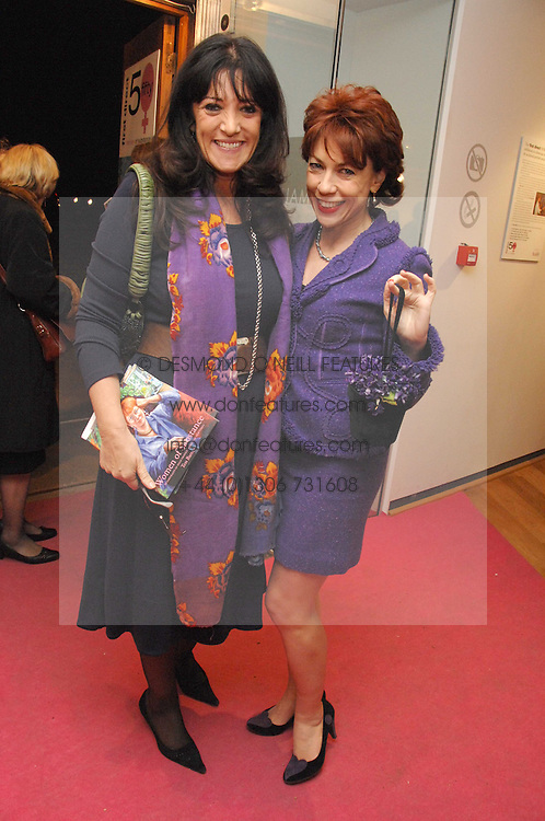 Left to right, GAIL REBUCK and Author KATHY LETTE at an exhibition of artist Tess Barnes's work '50 Women of Substance' sponsored by First Direct in aid of Breast Cancer Haven held at The Mall Gallery, London on 26th February 2008.<br />