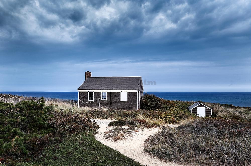 Small Cape Cod cottage overlooking the ocean, Wellfleet, Cape Cod, Massachusetts, USA