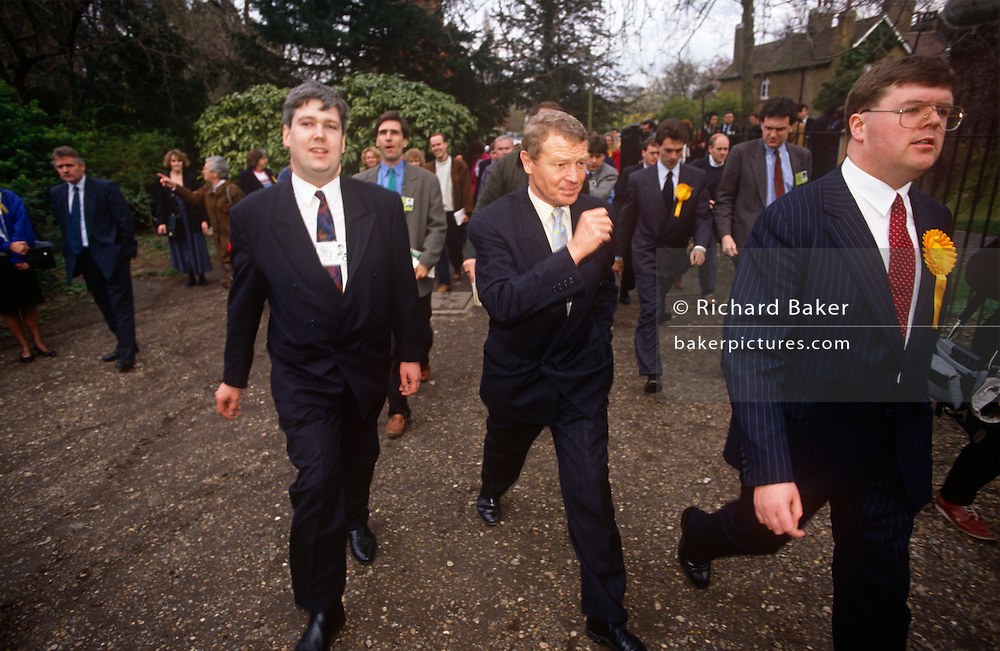 Liberal Democrat leader Paddy Ashdown strides while campaigning in Richmond, on 17th March 1992 in London, England. With a total of 22 seats won (22.6%  of the vote),  the 'Lib Dems' came third in the '92 election after the re-election victory by John Major's Conservatives.