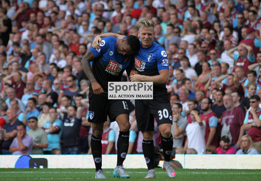 callum wilson and matt Ritchie celebrate During West Ham United vs Bournemouth FC on Saturday the 22nd August 2015