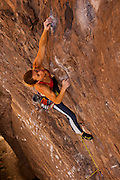 "Professional rock climber Lisa Rands leads ""Black Hole"" rated 12b, in the Owens River Gorge"