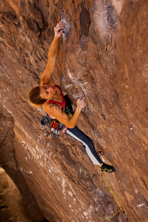 """Professional rock climber Lisa Rands leads """"Black Hole"""" rated 12b, in the Owens River Gorge"""