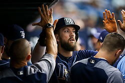 July 8, 2017 - St. Petersburg, Florida, U.S. - WILL VRAGOVIC   |   Times.Tampa Bay Rays right fielder Steven Souza Jr. (20) in the dugout after scoring on the sacrifice fly by catcher Jesus Sucre (45) in the second inning of the game between the Boston Red Sox and the Tampa Bay Rays at Tropicana Field in St. Petersburg, Fla. on Saturday, July 8, 2017. (Credit Image: © Will Vragovic/Tampa Bay Times via ZUMA Wire)