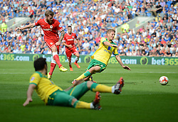 Cardiff City's Aron Gunnarsson scores. - Photo mandatory by-line: Alex James/JMP - Mobile: 07966 386802 30/08/2014 - SPORT - FOOTBALL - Cardiff - Cardiff City stadium - Cardiff City  v Norwich City - Barclays Premier League