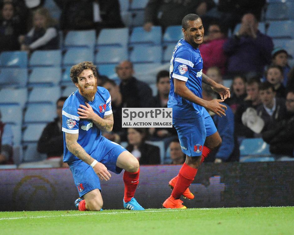 Romain Vincelot, Celebrrates after Scoring The Winning Goal At Villa Par, Aston Villa v Leyton Orient, Capital One Cup,  Villa Park,Wednesday 27th August 2014